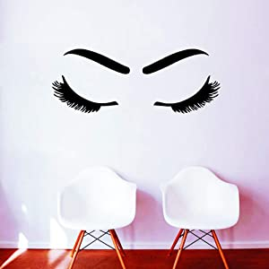 WOVTCP Woman Long Lashes Wall Sticker - Hairdressing Hair Beauty Salon Vinyl Wall Decals - Bedroom Wall Art Home Decor - Black