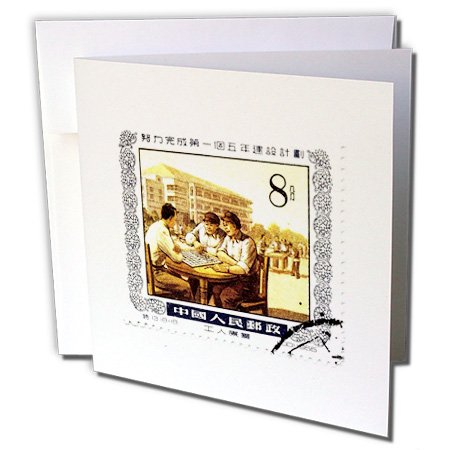3dRose Real China Stamp with Men Playing Mah Jongg 6 x 6 Inches Greeting Cards, Set of 12 (gc_155349_2)