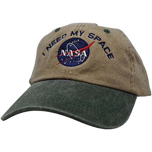 NASA I Need My Space Embroidered Two Tone Pigment Dyed Cotton Cap - Khaki Dk Green
