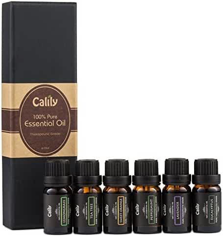 Calily Aromatherapy Essential Oil Set, 6 Bottles/10ml each (Lavender, Tea Tree, Eucalyptus, Lemongrass, Sweet Orange, Peppermint)
