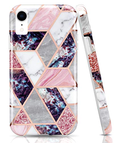 WALAGO Bling Glitter Sparkle Shiny Rose Gold Marble Geometric Case Slim Soft TPU Rubber Bumper Silicone Protective Phone Case Cover Compatible with iPhone XR [6.1 inch]