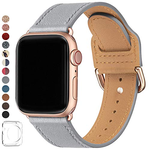 LOVLEOP Bands Compatible with iwatch Band 38mm 40mm 42mm 44mm, Top Grain Leather Watch Strap for iWatch Series 4 Series 3 Series 2 Series 1 (Light Gray+ Rose Gold Connector, 42mm 44mm)