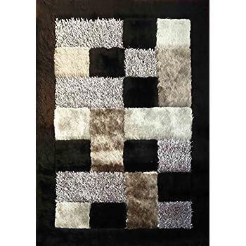 Alfombra Color Blanco con Negro combination hecha a mano estilo moderno suave y lujosa , gruesa pila de tamaño 60