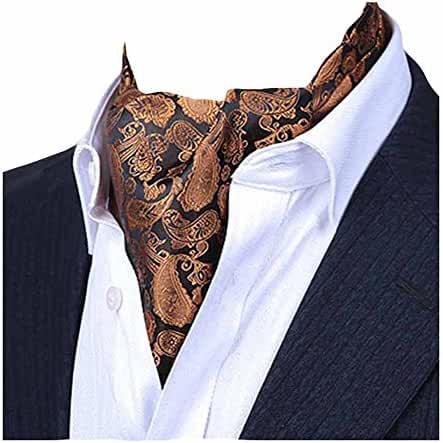 MENDENG Men's Gold Purple Paisley Jacquard Woven Silk Cravat Formal Ties Ascot