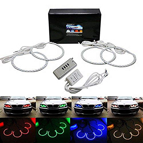 iJDMTOY Multi-Color 120-SMD RGB LED Angel Eyes Halo Ring Lighting Kit w/Remote Control for BMW E36 E46 E38 E39 3 5 7 ()