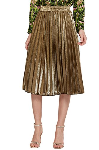 Chartou Women's Premium Metallic Shiny Shimmer Accordion Pleated Knee-Length Midi Skirt (X-Small, Gold-Knee Length)