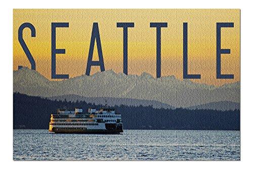 Seattle, Washington - Ferry and Orange Sunset (20x30 Premium 1000 Piece Jigsaw Puzzle, Made in USA!)