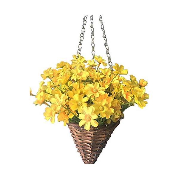 Lopkey Lifelike Artificial Daisy Flowers Outdoor Silk Daisy Indoor Patio Lawn Garden Mini Hanging Basket with Chain Flowerpot,Yellow