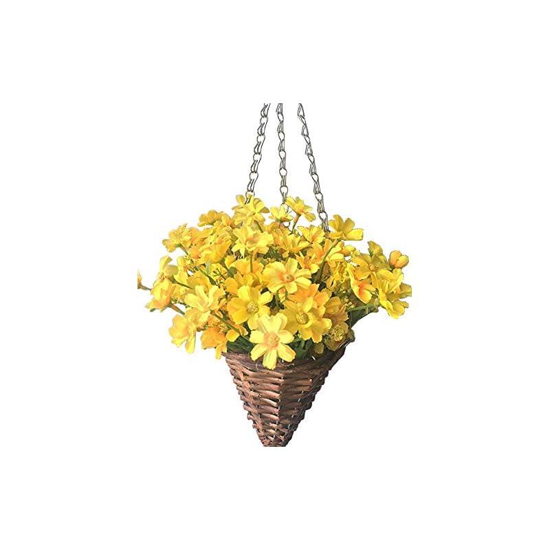 silk flower arrangements lopkey lifelike artificial daisy flowers outdoor silk daisy indoor patio lawn garden mini hanging basket with chain flowerpot,yellow