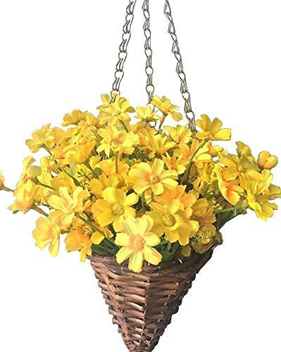 (Lopkey Lifelike Artificial Daisy Flowers Outdoor Silk Daisy Indoor Patio Lawn Garden Mini Hanging Basket with Chain Flowerpot,Yellow)
