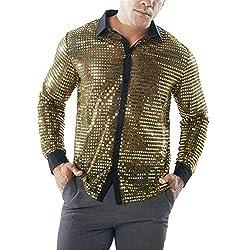 Men's Long Sleeve Slim Fit Sequin Shirt