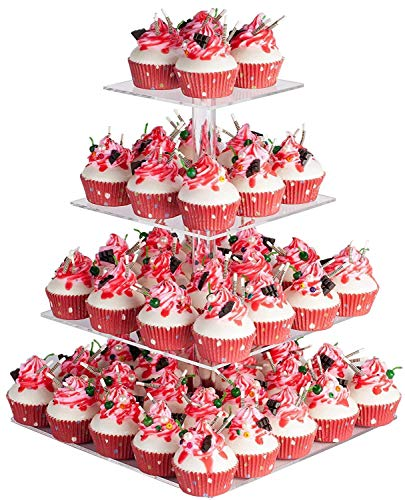 YestBuy 4 Tier Maypole Square Wedding Party Tree Tower Acrylic Cupcake Display Stand (15.1 Inches)]()