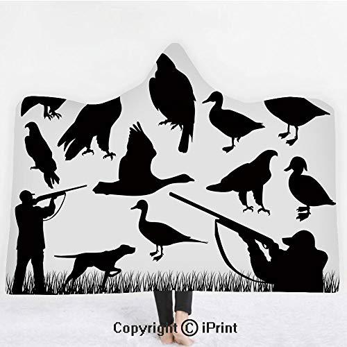 "Hunting Decor 3D Print Soft Hooded Blanket Boys Girls Premium Throw Blanket,Silhouettes of Wild Animals and Huntsman Grouse Mallard Duck Eagle Grass Decorative,Lightweight Microfiber(Kids 50""x60"")Blac"