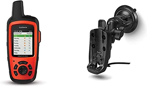 Garmin in Reach Explorer , Handheld Satellite Communicator with Topo Maps and GPS Navigation Bundle with Garmin inReach SE and Explorer Powered Mount with Suction Cup
