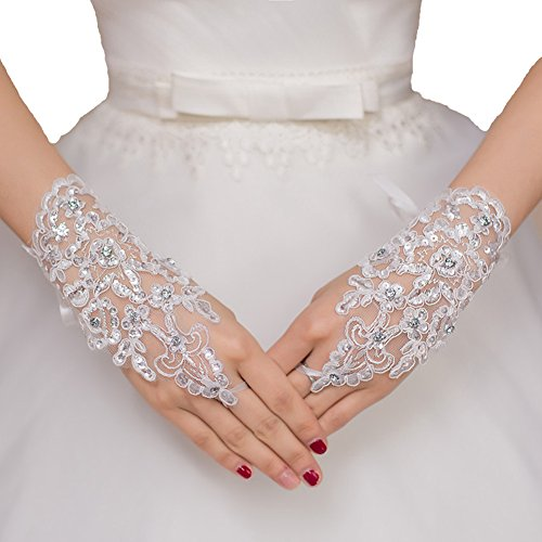 Danadress Short Lace Fingerless Rhinestone Bridal Gloves For Wedding (White)