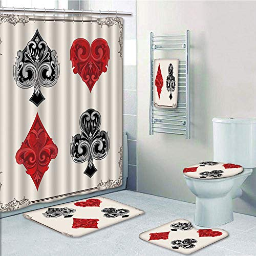 (Bathroom 5 Piece Set shower curtain 3d print Multi Style,Poker Tournament Decorations,Baroque Frame Gamble Symbols Vintage Antique Ornamental,Red Black Silver,Bath Mat,Bathroom Carpet Rug,Non-Slip,Bat)