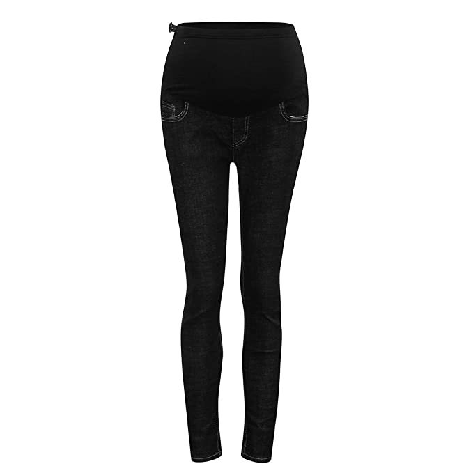 7e72153379114 Riverdalin Maternity Skinny Jeans Pregnancy Belly Support Denim Pants Wide  Elastic Band Trousers wtih Pockets Black