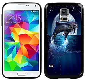 Dolphins Moon Fantasy Handmade Samsung Galaxy S5 Black Case