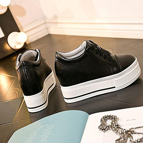 Pp Fashion Mujeres Formal Wedges Hidden Heel Zapatillas De Deporte De Cuero Con Plataforma Bombas Con Cordones Black
