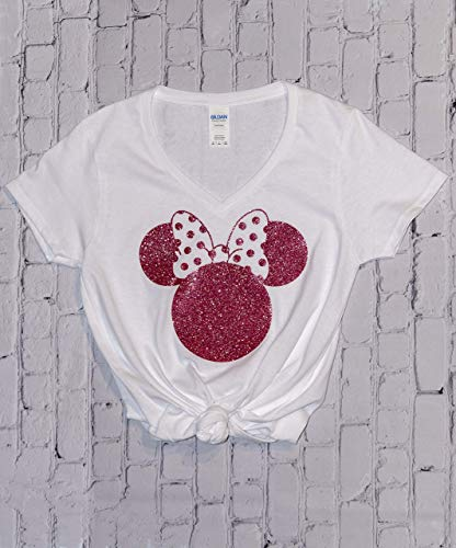Amazon Disney Shirts For Women Minnie Mouse Rose Gold Glitter Ears Disneyland Trip Birthday Outfits Cute T Handmade