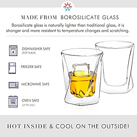 JoyJolt Lacey Whiskey Double Wall Glasses, Set of 2 Insulated Whiskey Glass, 10-Ounces.