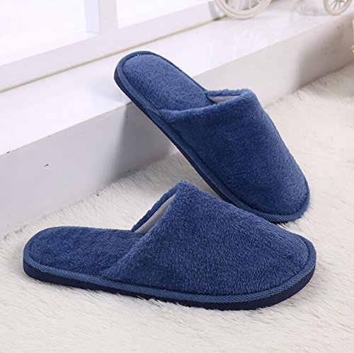 Eagsouni Mens Womens Indoor Winter Warm Slippers Solid Fuzzy Round Toe Soft Plush Deep Blue opIVyjhQ0b