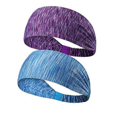 Tuanhui 2 fasce per capelli da sport, no gocciola fascia per capelli, perfetta per corso , viaggio, yoga, pilates, pallavolo-donna e uomo Accessore per capelli di moda..