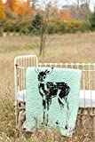 Standing Fawn Turquoise - Linen Crib Quilt Baby Bedding - 36x45