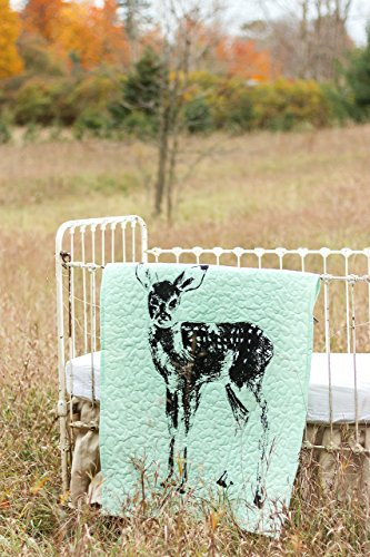 Standing Fawn Turquoise - Linen Crib Quilt Baby Bedding - 36x45 by The Barn Social