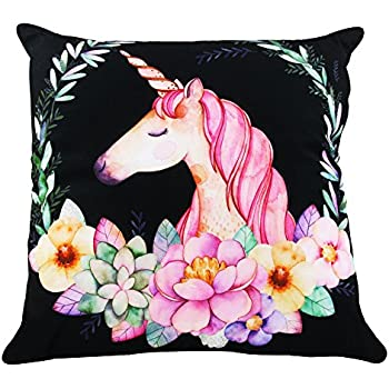 Decorative and Practical for Girls Room Unicorn Elements Focuh Cute Unicorn Pattern Throw Pillow Case Soft Fabric Rectangular Sofa Cushion Cover 18 x 18 Inch