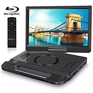 FANGOR 12 Inch Portable Blu Ray Player with Rechargeable Battery and Remoto Control, 1080P Video HDMI Output & AV in, USB/SD Card, Snyc Screen, Last Memory, Region Free