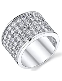 Metal Masters Co.® David Beckham Sterling Silver Men's Championship Cubic Zirconia CZ Band Ring 15 MM Sizes 8 to 13