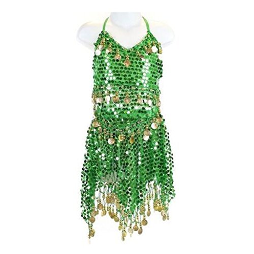 Green Belly Dance Costume - Pilot-trade Kid's Belly Dance Costume Girls Sparkly Circle Sequin Coins Top & Skirt Green
