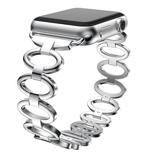 Price comparison product image SMYTShop Premium Metal Chain 38mm Bands for Apple Watch Series 1 Series 2 Series 3,Classic Smartwatch Accessorie Stainless Steel Wrist Straps Replacement Band Bracelet for Apple Watch (Silver)