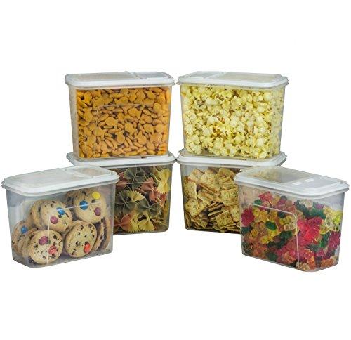 6 Pack Plastic Food Storage Dispenser Container 7.5 Cup P...