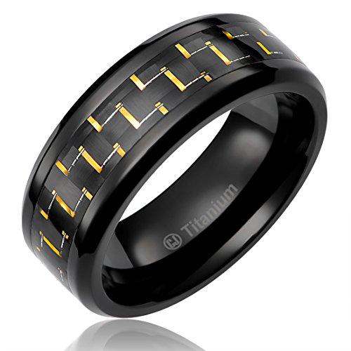 Gold Tone Titanium Plated (8MM Mens Titanium Ring Wedding Band Black Plated Black and Gold-Tone Carbon Fiber Inlay [Size 11])