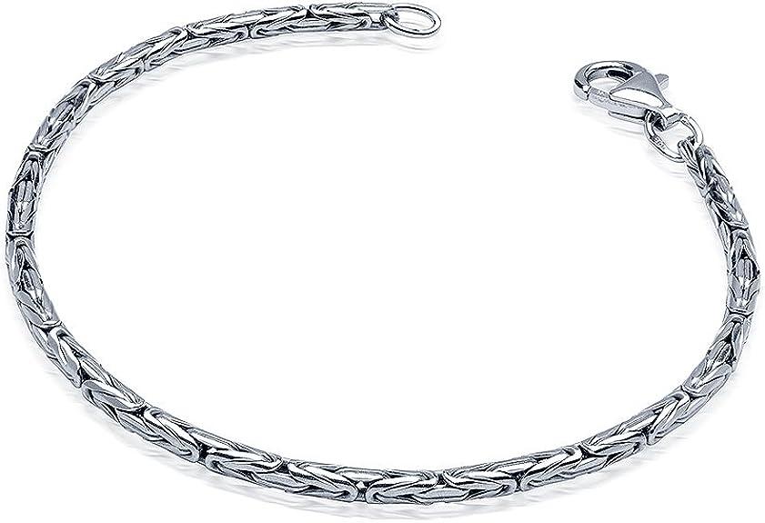 MATERIA Damen Armband Silber 925 Königskette 2,5mm 6,8g rhodiniert 17 23cm + Box #SA 31