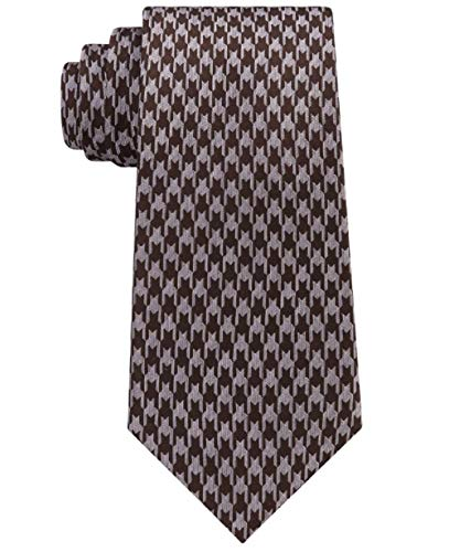 Sean John Men's Retro Houndstooth Silk Tie Brown