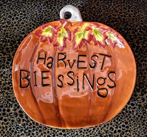 Ceramic Harvest Spice Halloween Pumpkin Serving Plate/Platter 11 x 10 inches]()