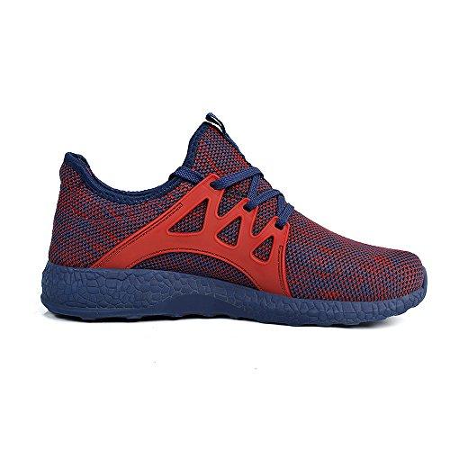 Feetmat Womens Sneakers Ultra leichte atmungsaktive Mesh-athletische Laufschuhe Plus Größe Rot blau