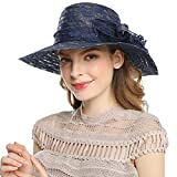 Women Summer Sun Hats - Wide Brim Kentucky Derby Church Dress Cap(Navy Blue)