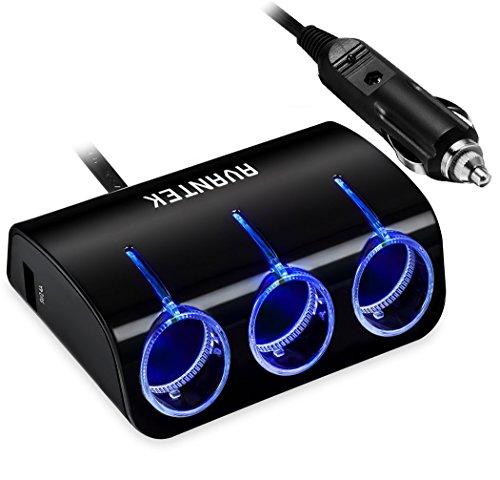 AVANTEK 3-Socket Cigarette Lighter Power Adapter DC Outlet Splitter with 2-Port 4.8A USB Car Charger by AVANTEK