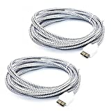 6Ft 2M Braided Fabric Design USB Data Sync Transfer cables For Samsung Galaxy S5 SV I9600 / Galaxy Note 3 N9000 N9002 N9005 Note III -2Pack- (6Ft/2m White)