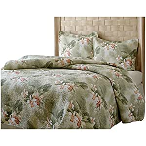 tb 3 piece queen tropical themed quilt set sage green peach tinged orchids floral. Black Bedroom Furniture Sets. Home Design Ideas