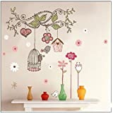 Birdcage Colorful Flower Vine Branches Removable vinyl art wall decals murals home Decal decor wall stickers For Nursery Boys and Girls Room Children's Room