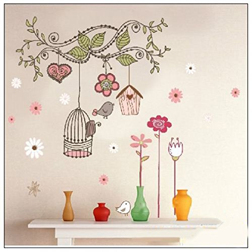 Colourful Birds and Cage on Tree Branch - Wall Stickers Home Art Decoration Tianhong