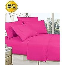 Elegant Comfort 4-Piece Bed Sheet Set With Deep Pockets, Queen Pink
