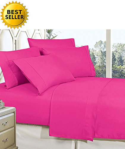 Celine Linen Best, Softest, Coziest Bed Sheets Ever! 1800 Thread Count Egyptian Quality Wrinkle-Resistant 4-Piece Sheet Set with Deep Pockets 100% Hypoallergenic, Full Pink