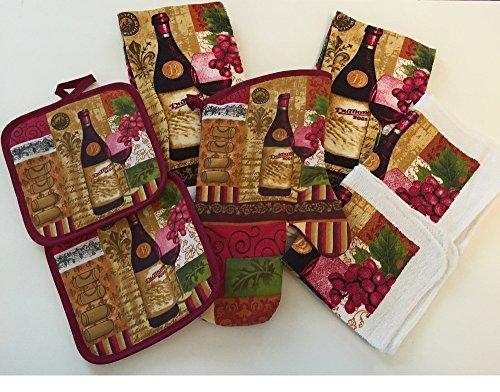 Vibrant Wine Kitchen Towel Set With Potholders, Oven Mitt And Dish Cloths