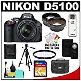 Nikon D5100 Digital SLR Camera and 18-55mm G VR DX AF-S Zoom Lens with 16GB Card + .45x Wide Angle and 2.5x Telephoto Lenses + Remote + Filter + Tripod + Accessory Kit, Best Gadgets